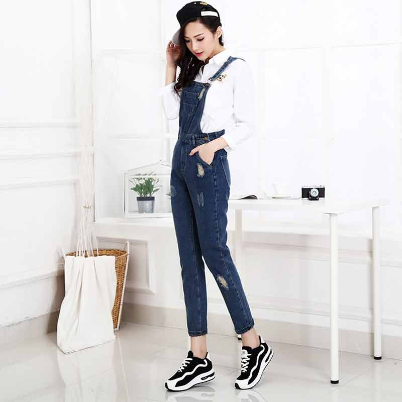 Blue denim overalls and jeans jumpsuits for girls in Pakistan 2017 with white shirt