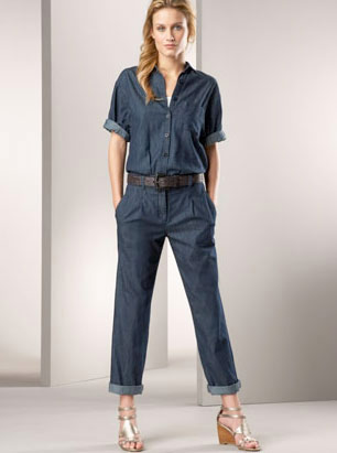 Blue denim overalls and jeans jumpsuits for girls in Pakistan 2017