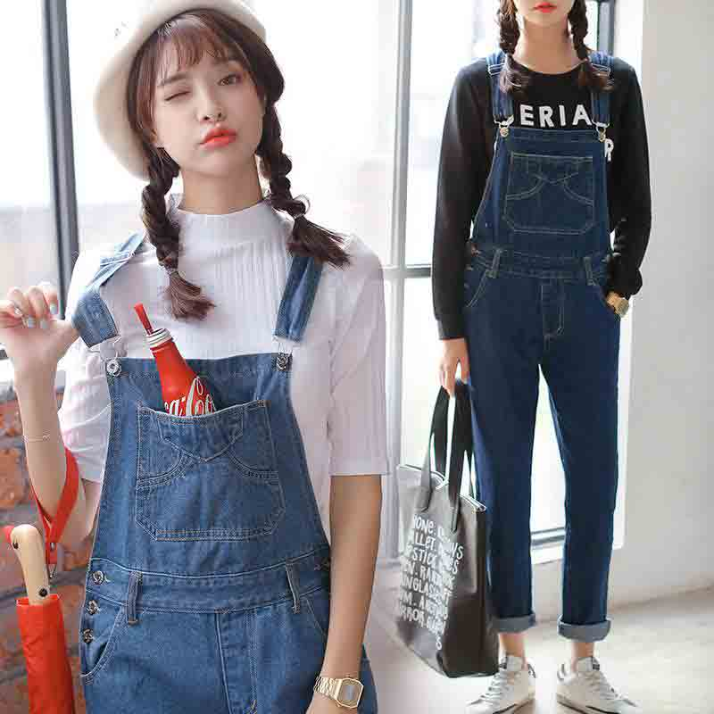 New denim overalls and jeans jumpsuits for girls in Pakistan 2017 with white and black shirt
