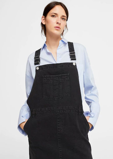 Black denim overalls and jeans jumpsuits for girls in Pakistan 2017 by Mango