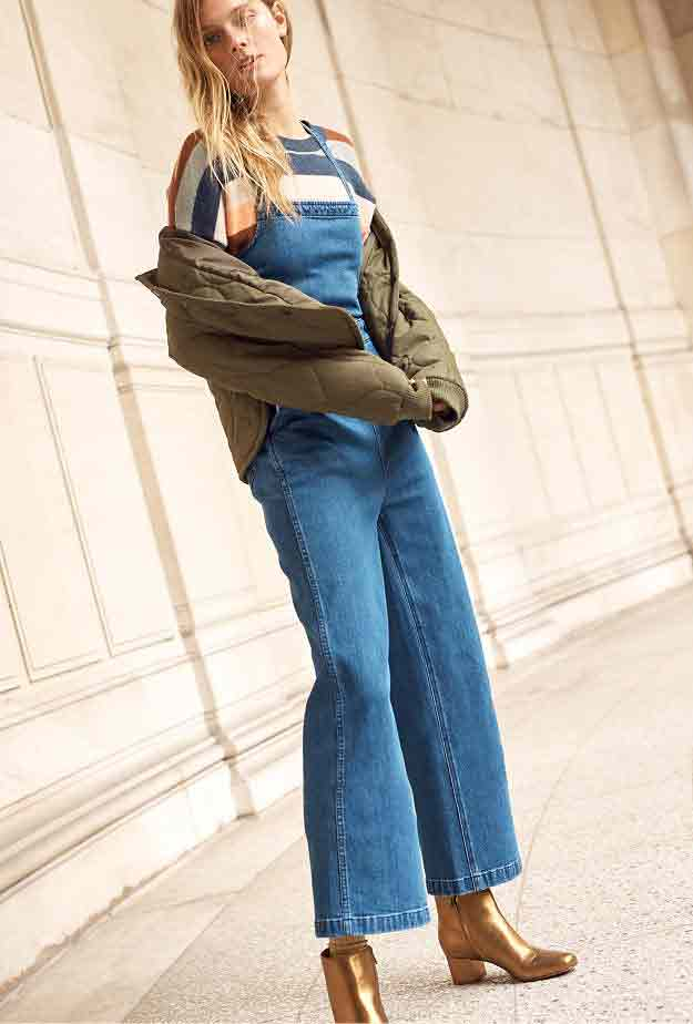Bell bottom blue denim overalls and jeans jumpsuits for girls in Pakistan 2017 with jacket