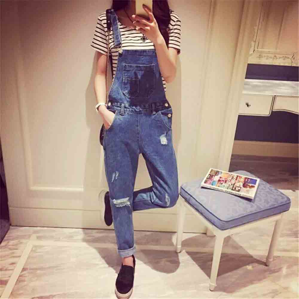 Ripped denim overalls and jeans jumpsuits for girls in Pakistan 2017 with white shirt