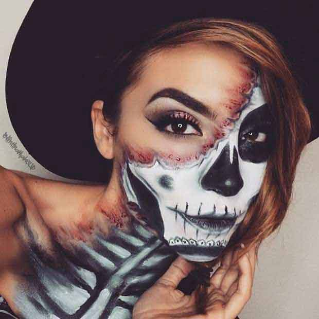 Latest spooky weird and easy Halloween makeup looks and ideas for girls in 2017