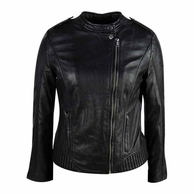 Ladies black biker leather winter jackets 2017 with price in Pakistan
