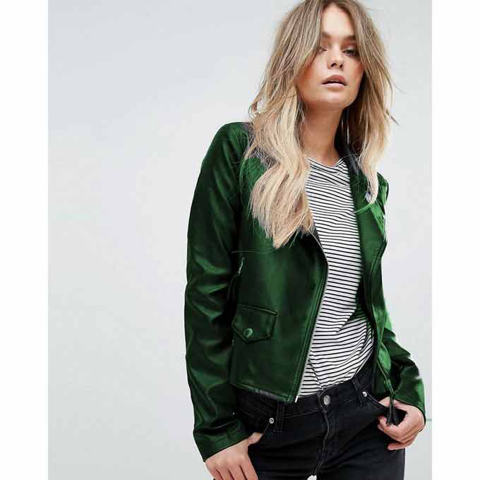 Ladies green leather winter jackets with price in Pakistan