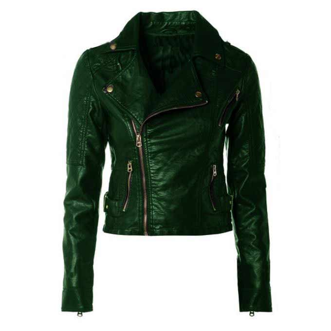 Ladies dark green zipper leather winter jackets with price in Pakistan