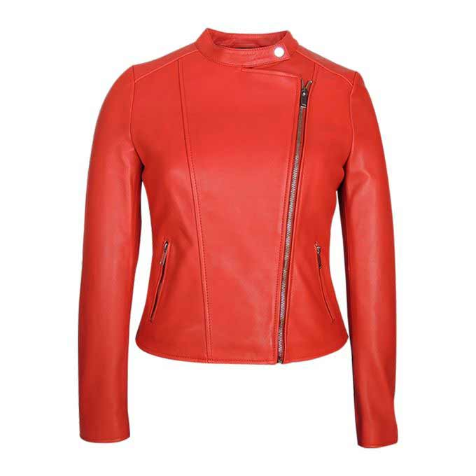 Ladies red zipper leather winter jackets with price in Pakistan