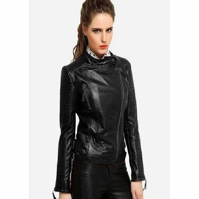 Ladies black zipper leather winter jackets 2017 with price in Pakistan