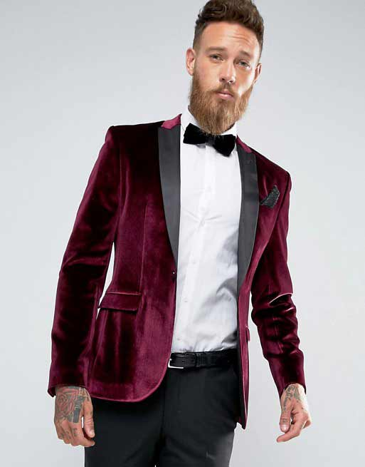 Maroon blazer with white shirt and black pants from the new collection of latest Christmas party dresses for men in 2017