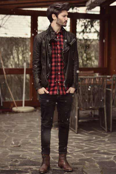 Red checkbox shirt with black jacket and jeans from the new collection of latest Christmas party dresses for men in 2017
