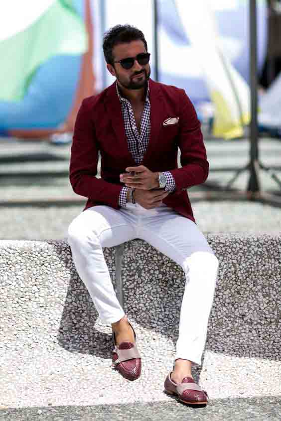 Red coat with white pants from the new collection of latest Christmas party dresses for men in 2017