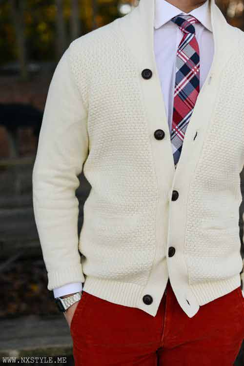 White shirt with red pants from the new collection of latest Christmas party dresses for men in 2017