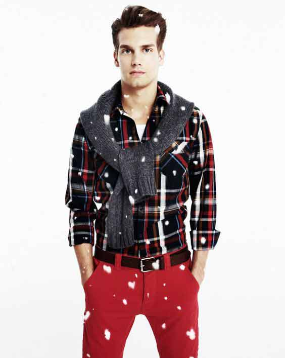 Checkbox shirt with red pants from the new collection of latest Christmas party dresses for men in 2017