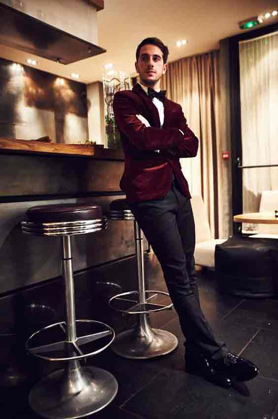 Maroon blazer with black pants from the new collection of latest Christmas party dresses for men in 2017