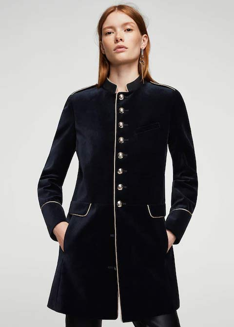 Navy blue winter long coats 2017 for girls in Pakistan