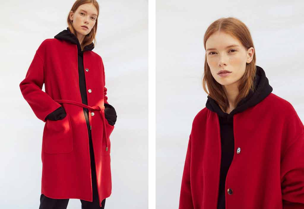 Stylish red winter long coats 2017 for girls in Pakistan
