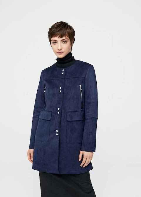 Navy blue with front buttons winter long coats 2017 for girls in Pakistan