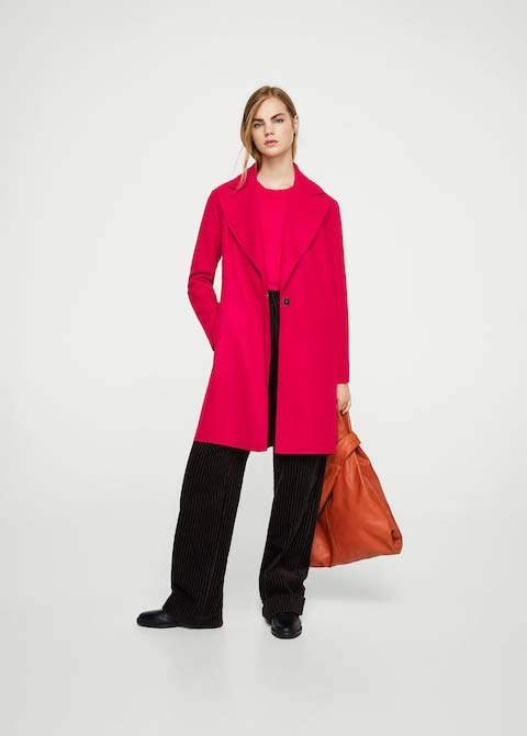 Latest red winter long coats 2017 for girls in Pakistan