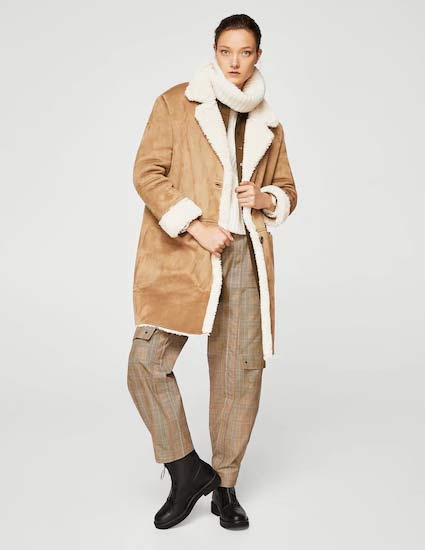Brown and white winter long coats 2017 for girls in Pakistan