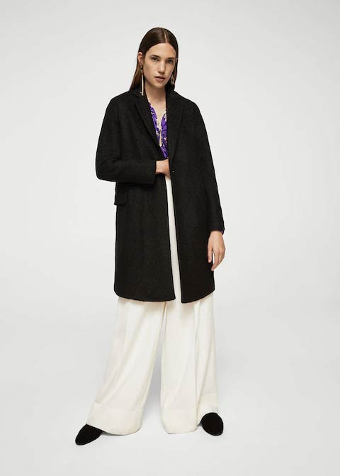 Simple black winter long coats 2017 for girls in Pakistan