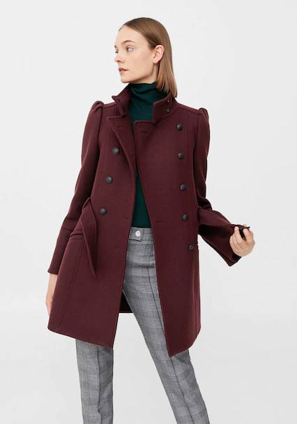 New style maroon winter long coats 2017 for girls in Pakistan