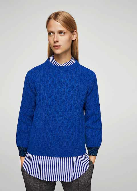 Royal blue winter sweaters for girls in Pakistan by Mango 2017