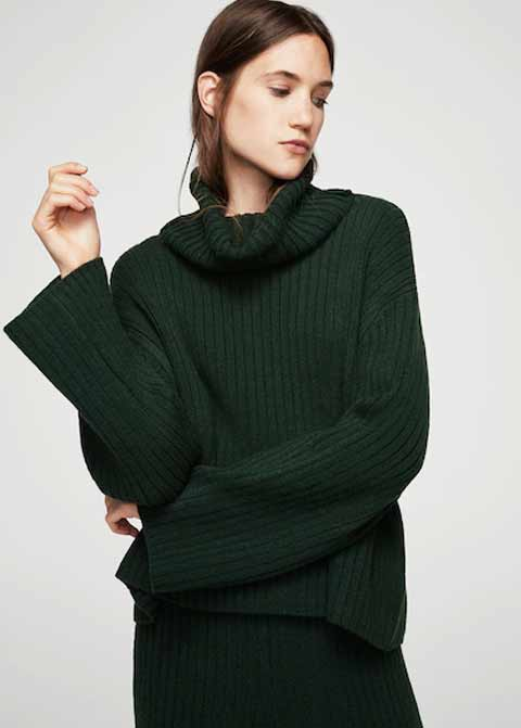 Dark green winter sweaters for girls in Pakistan by Mango 2017