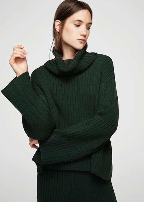 771d1665bd6c6d Dark green winter sweaters for girls in Pakistan by Mango 2017