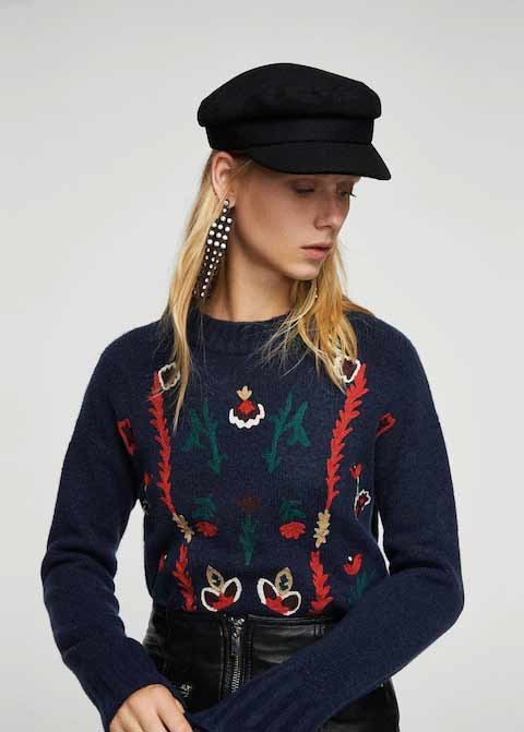 Embroidered blue winter sweaters for girls in Pakistan by Mango 2017