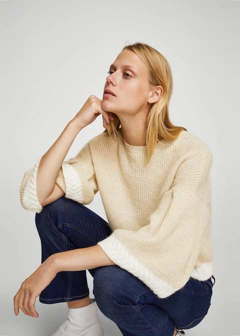 Cream or off white winter sweaters for girls in Pakistan by Mango 2017