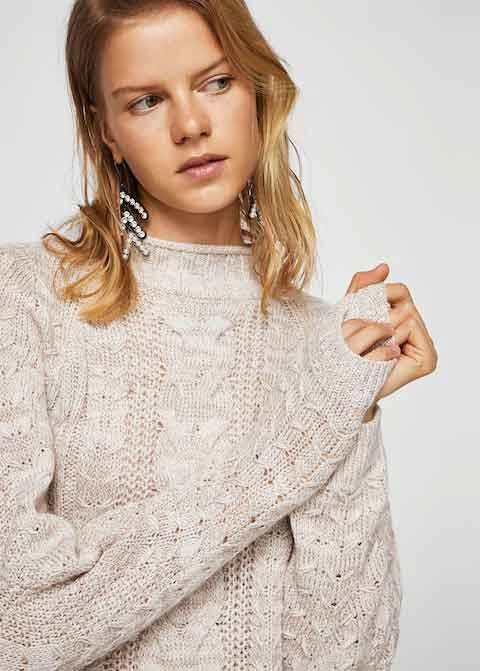 Off white winter sweaters for girls in Pakistan by Mango 2017