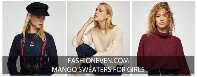 New stylish off white maroon and blue winter sweaters for girls in Pakistan by Mango 2017