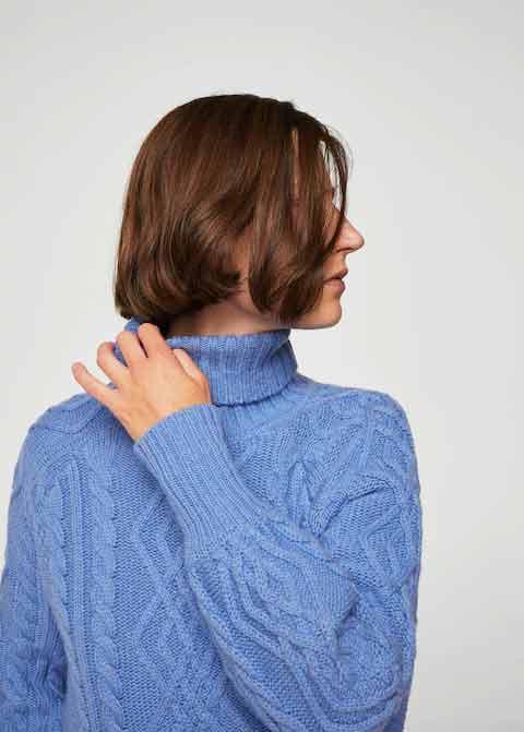 Sky blue high neck winter sweaters for girls in Pakistan by Mango 2017