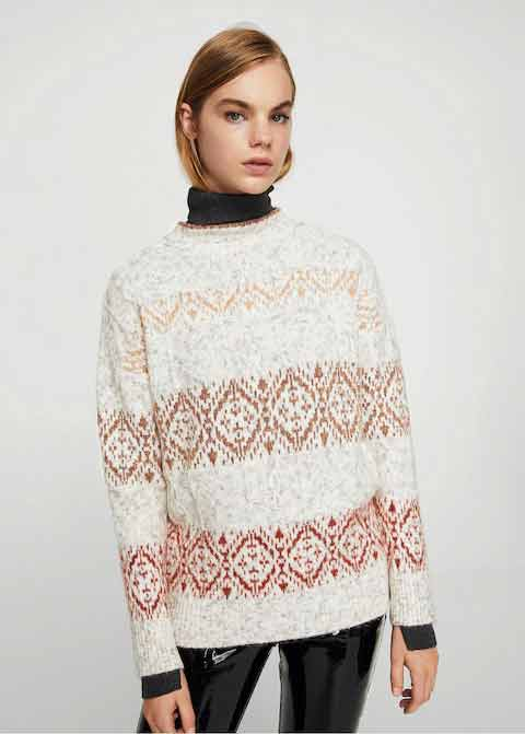Pink and white winter sweaters for girls in Pakistan by Mango 2017