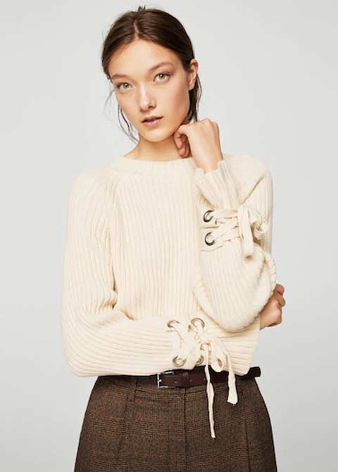 Baby pink off white winter sweaters for girls in Pakistan by Mango 2017