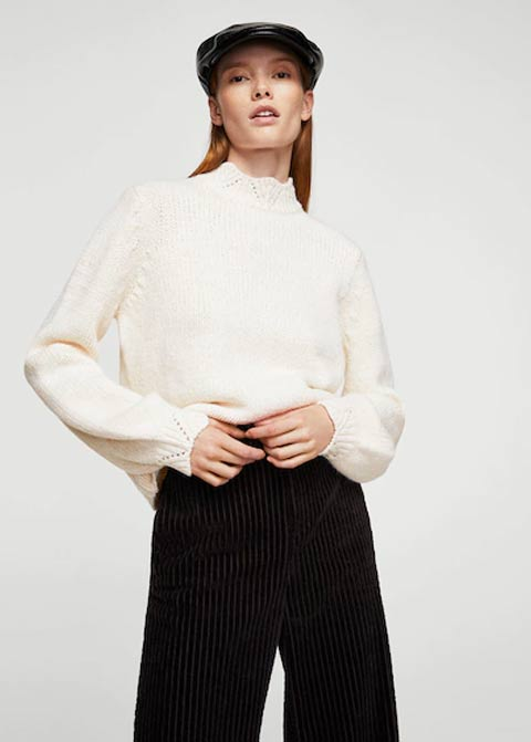 White winter sweaters for girls in Pakistan by Mango 2017