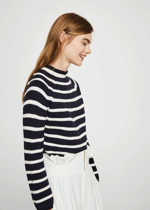 Black and white striped winter sweaters for girls in Pakistan by Mango 2017