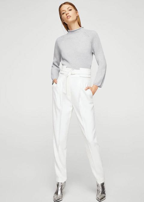 Light gray short winter sweaters for girls in Pakistan by Mango 2017
