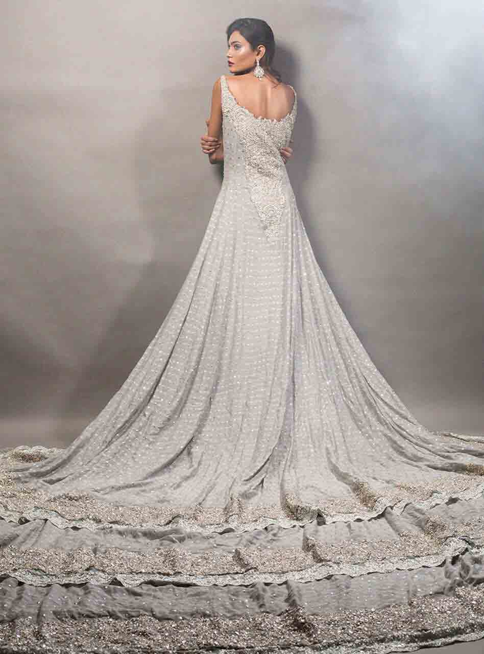 Gray Pakistani bridal long tail maxi gown dress designs 2017