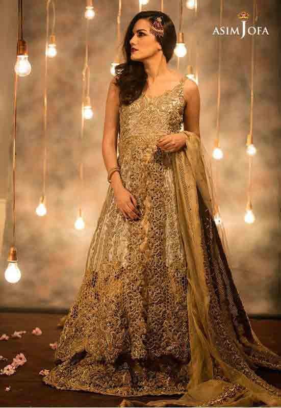 Golden brown Pakistani bridal long tail maxi gown dress designs 2017