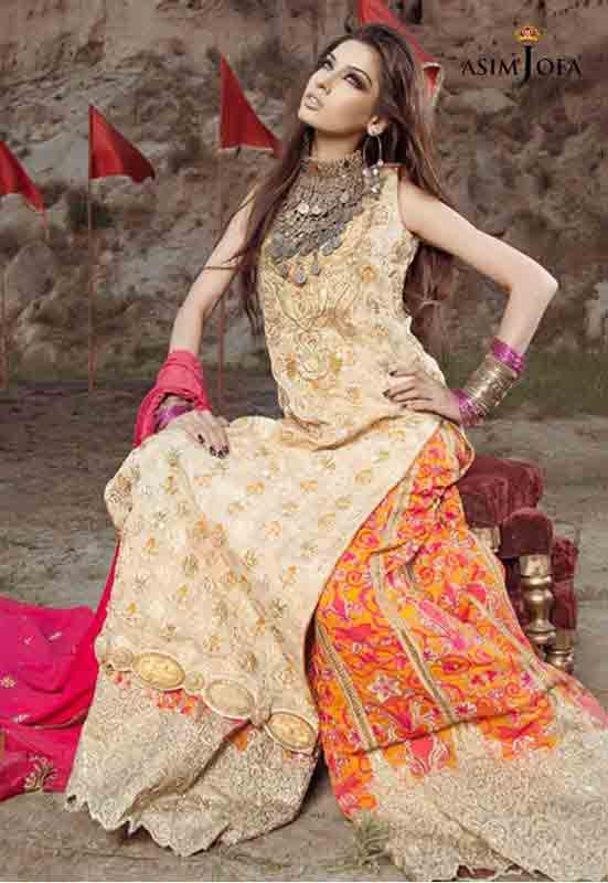 Orange and lime Pakistani bridal long tail maxi gown dress designs 2017