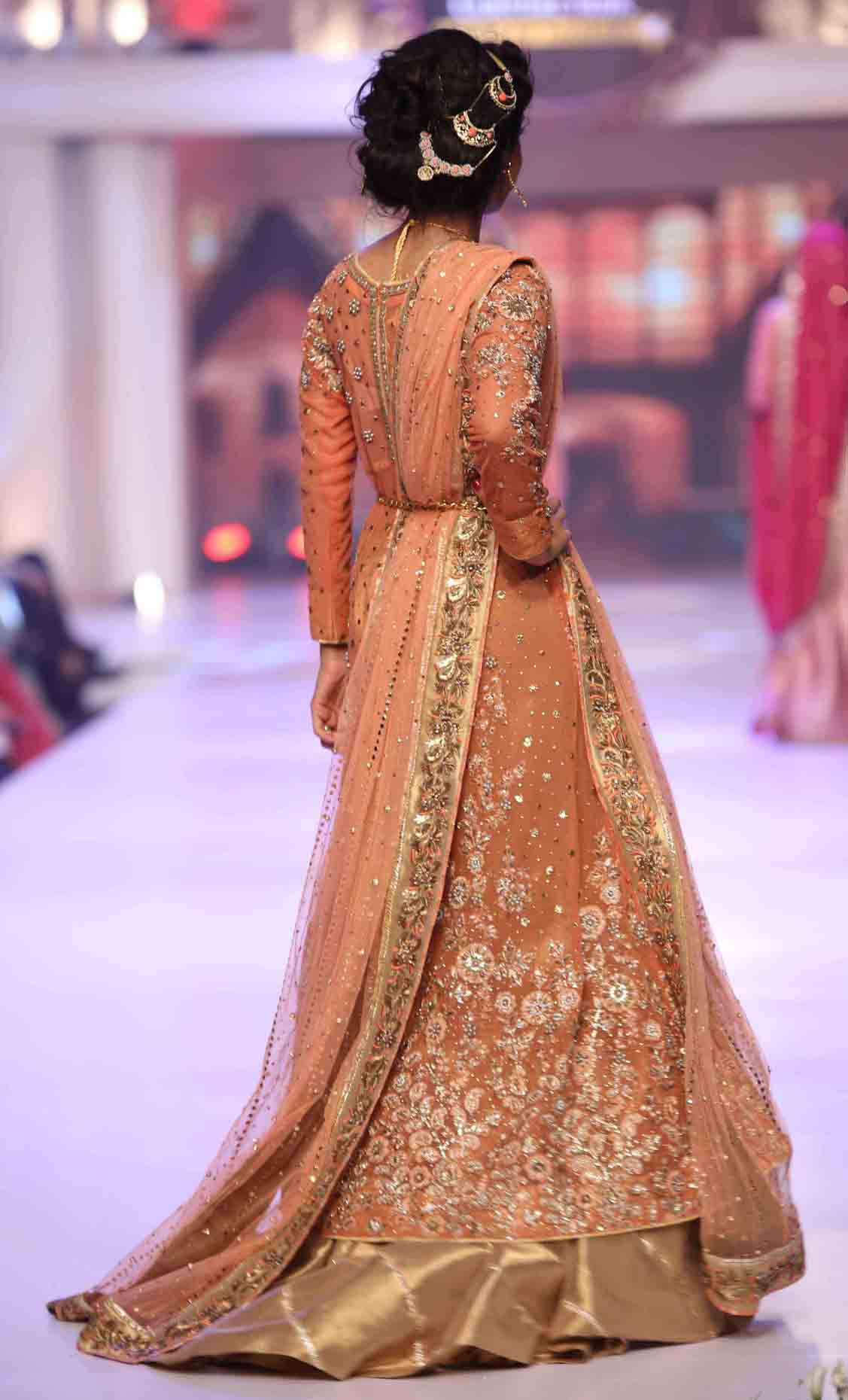 Peach Pakistani bridal long tail maxi gown dress designs 2017