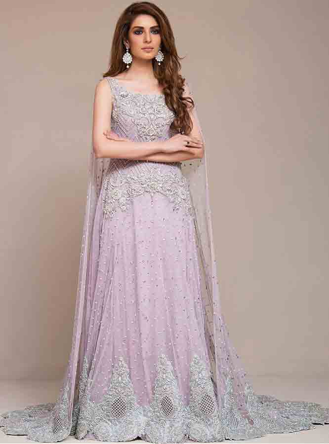 Light purple Pakistani bridal long tail maxi gown dress designs 2017