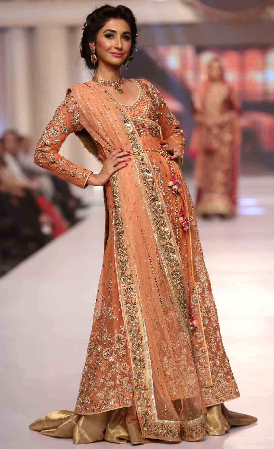 Peach Pakistani bridal long tail maxi gown dress designs 2017 with dupatta