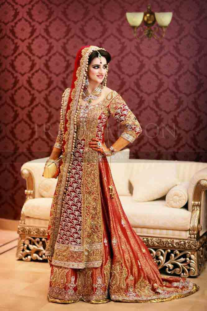 Golden and red Pakistani bridal long tail maxi gown dress designs 2017