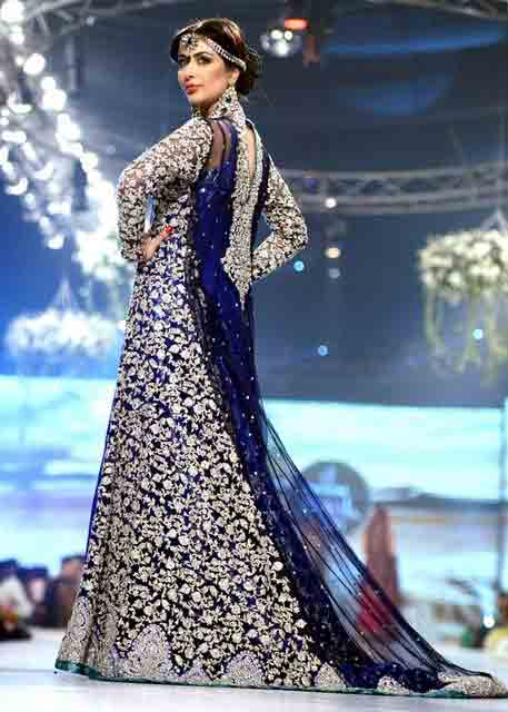Navy blue and silver Pakistani bridal long tail maxi gown dress designs 2017