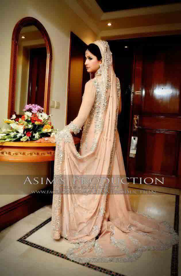 Peach pink Pakistani bridal long tail maxi gown dress designs 2017