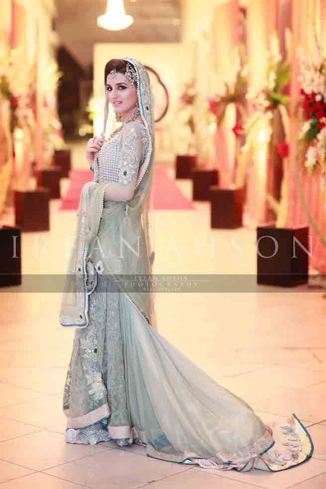 Gray and silver Pakistani bridal long tail maxi gown dress designs 2017