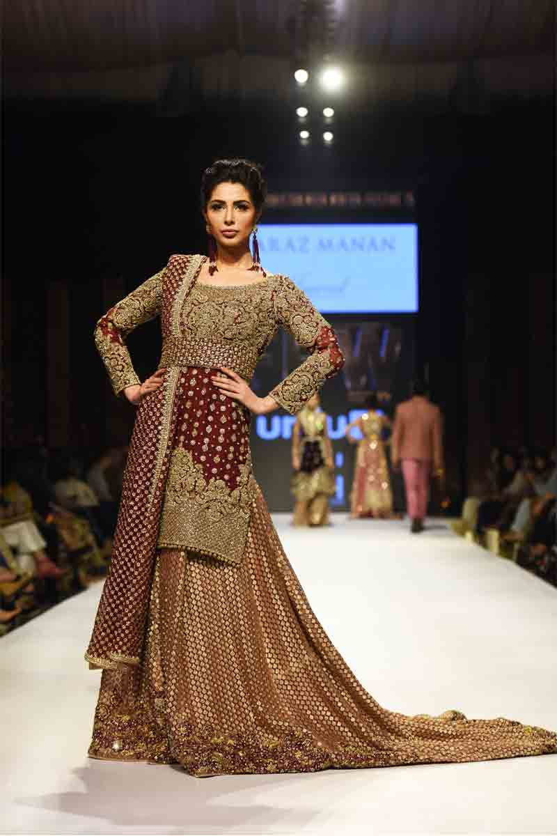 New golden maroon Pakistani bridal long tail maxi gown dress designs 2017 with dupatta