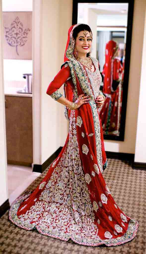 Latest red and silver Pakistani bridal long tail maxi gown dress designs 2017